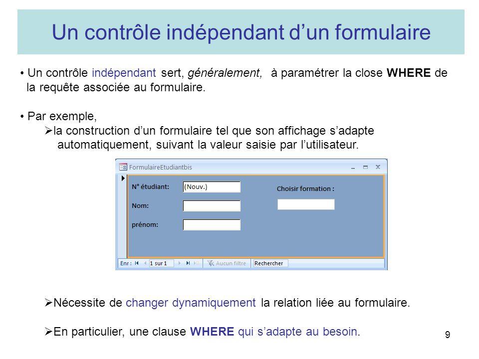 Un contrôle indépendant d'un formulaire