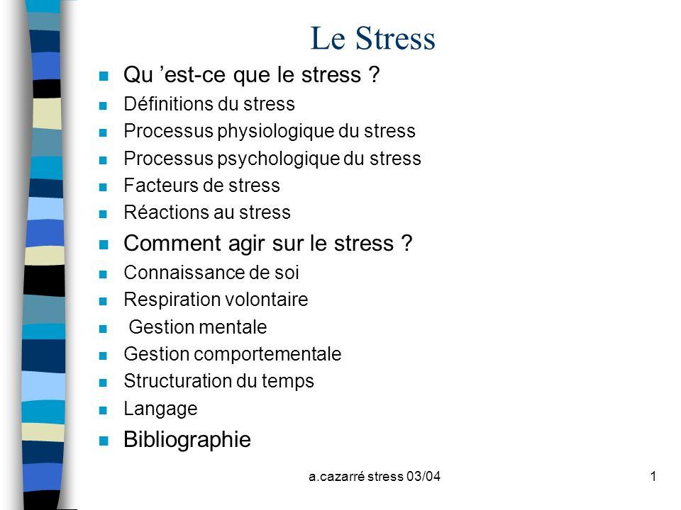 Le Stress Qu 'est-ce que le stress Comment agir sur le stress