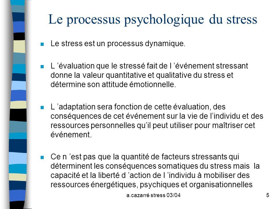 Le processus psychologique du stress