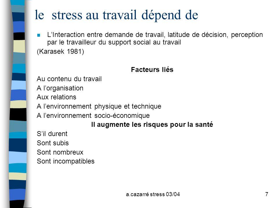 le stress au travail dépend de