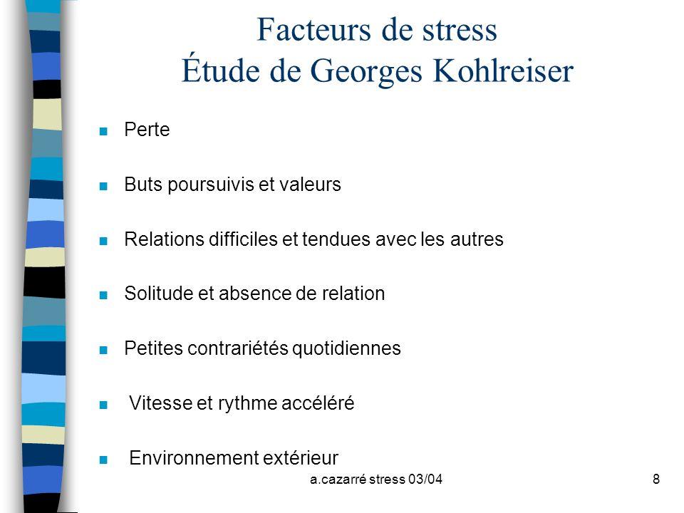 Facteurs de stress Étude de Georges Kohlreiser