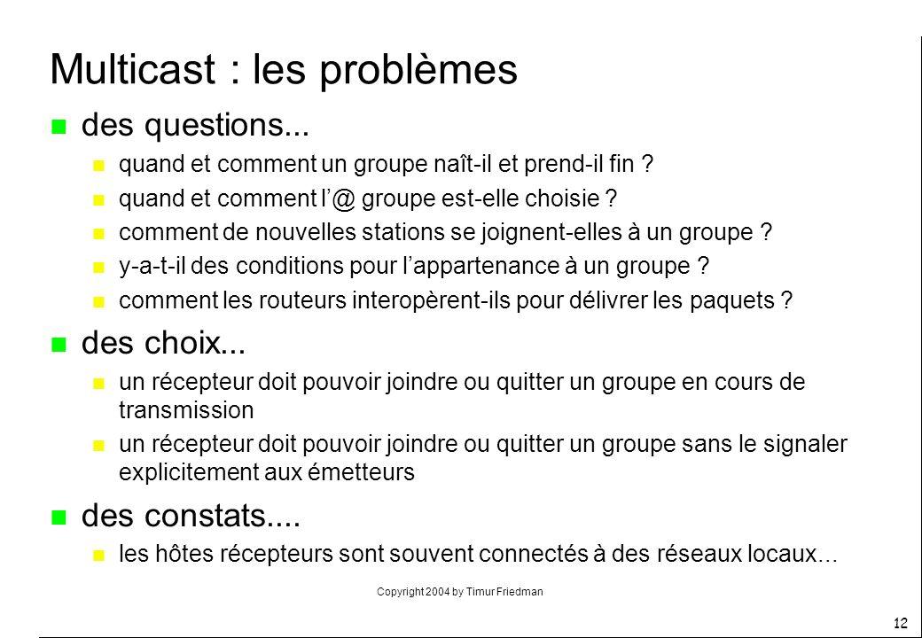 Multicast : les problèmes