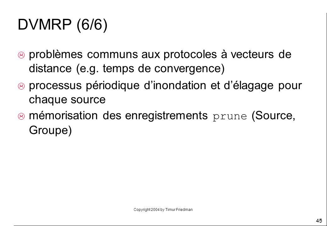 DVMRP (6/6) problèmes communs aux protocoles à vecteurs de distance (e.g. temps de convergence)