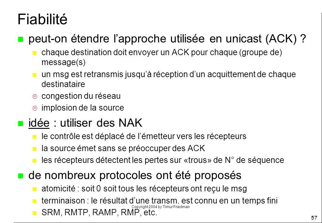 Fiabilité peut-on étendre l'approche utilisée en unicast (ACK)