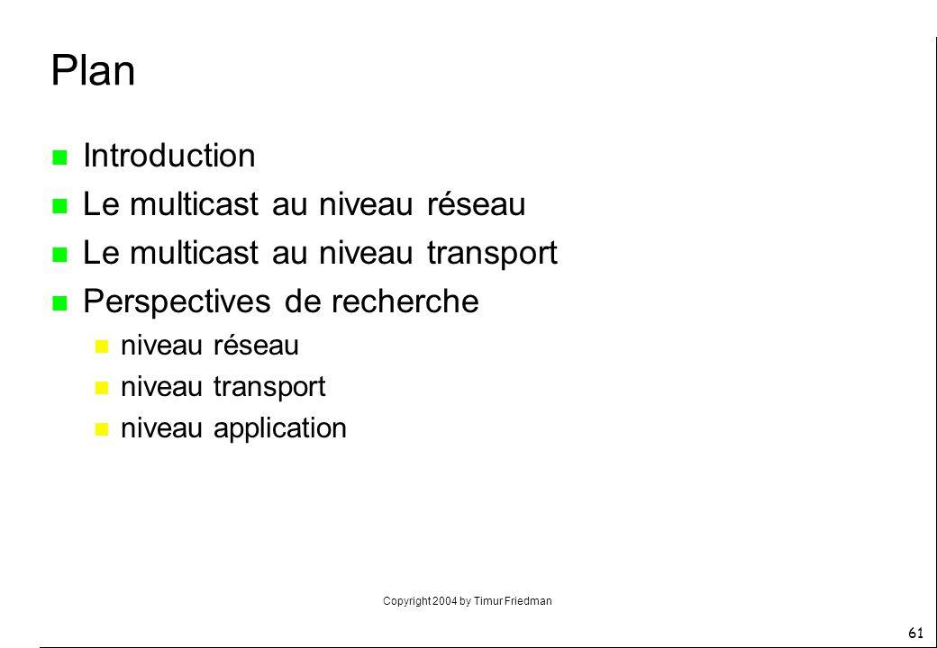 Plan Introduction Le multicast au niveau réseau