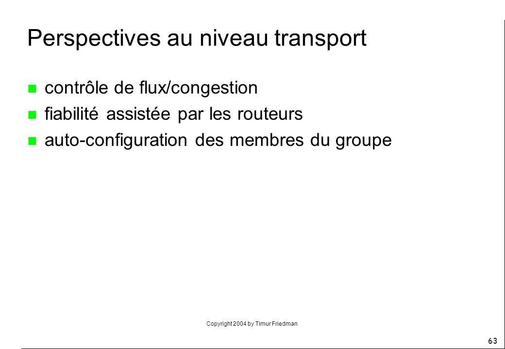 Perspectives au niveau transport