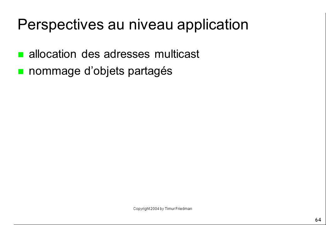 Perspectives au niveau application