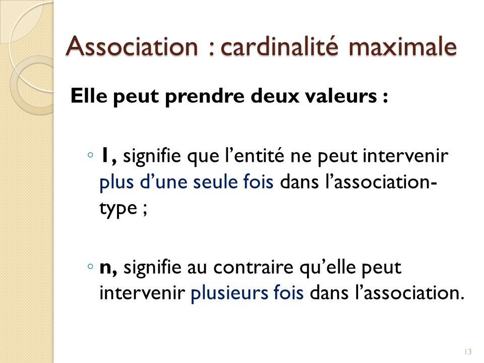 Association : cardinalité maximale