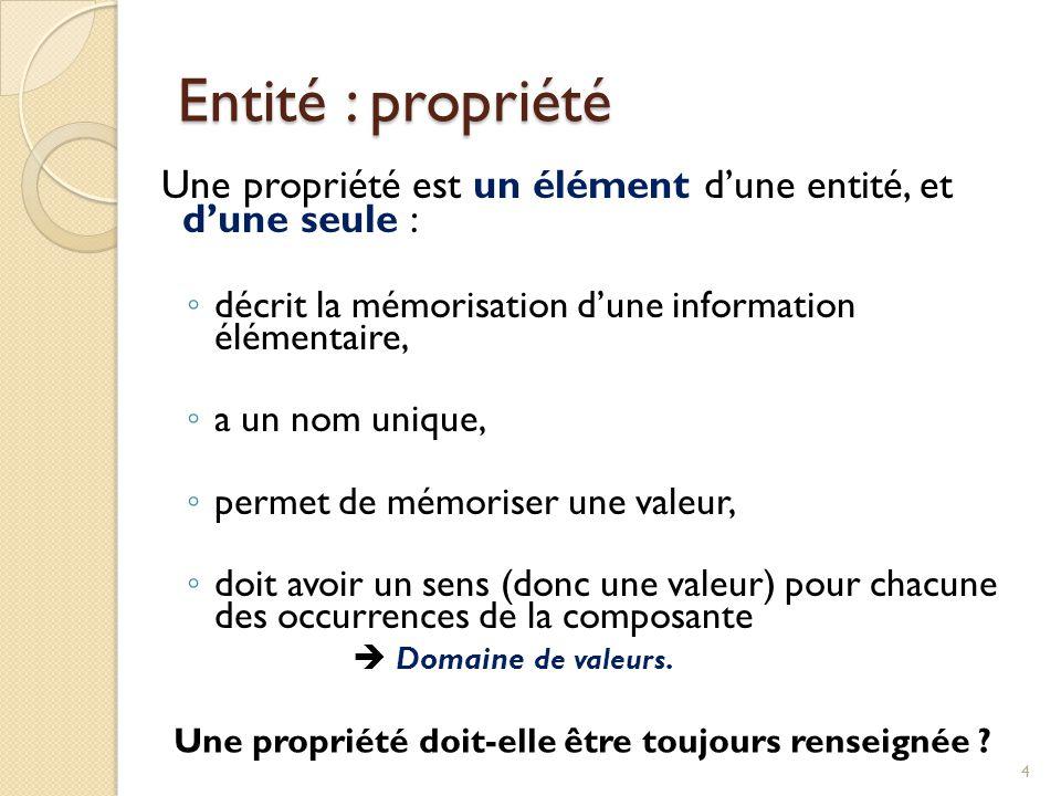 Entité : propriété Une propriété est un élément d'une entité, et d'une seule : décrit la mémorisation d'une information élémentaire,