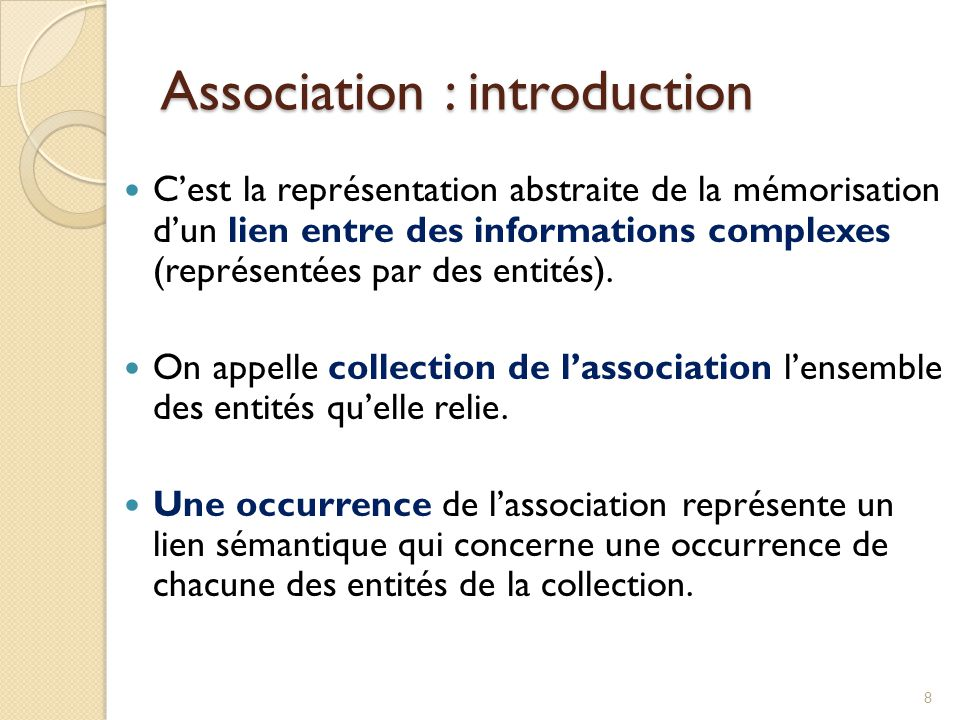 Association : introduction