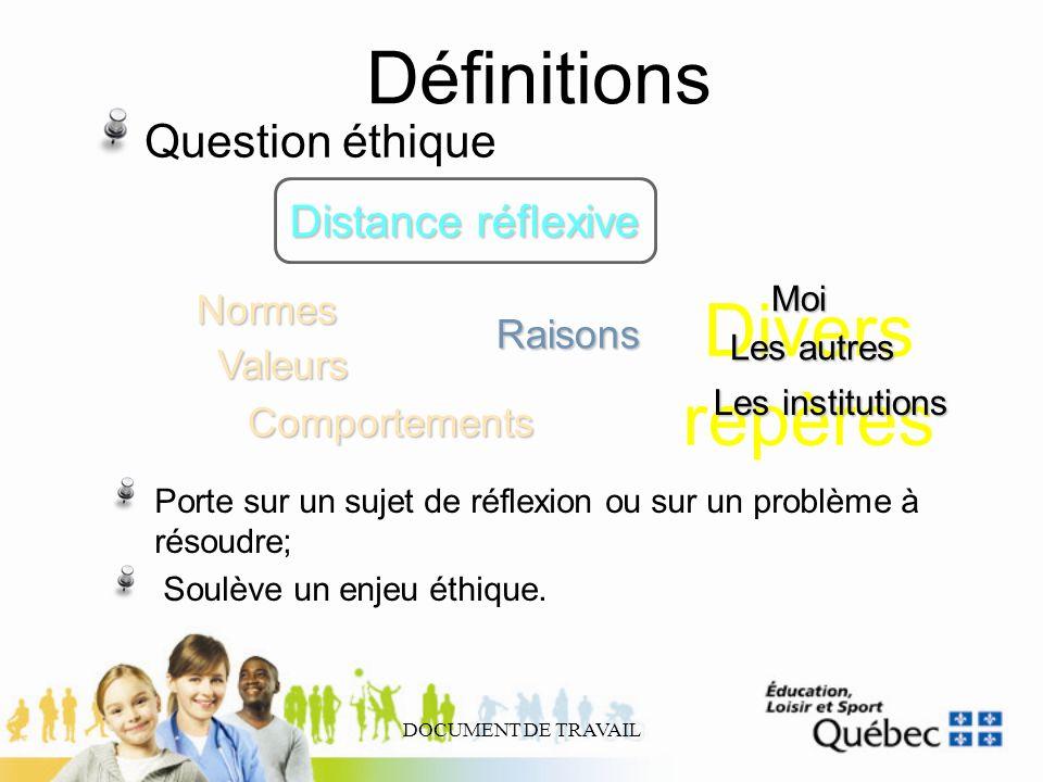 Définitions Divers repères Question éthique Distance réflexive Normes