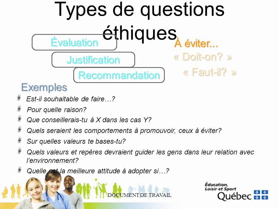 Types de questions éthiques
