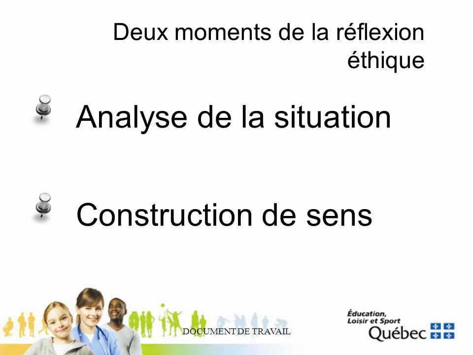 Deux moments de la réflexion éthique
