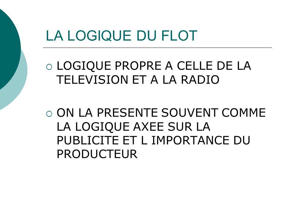 LA LOGIQUE DU FLOT LOGIQUE PROPRE A CELLE DE LA TELEVISION ET A LA RADIO.