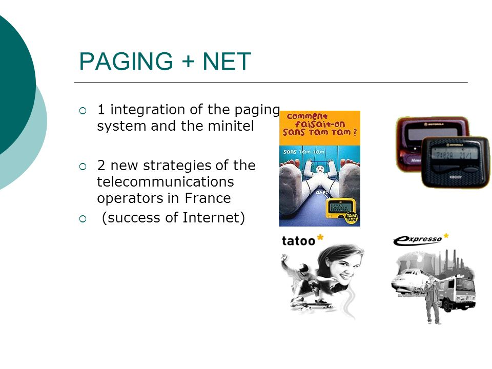 PAGING + NET 1 integration of the paging system and the minitel