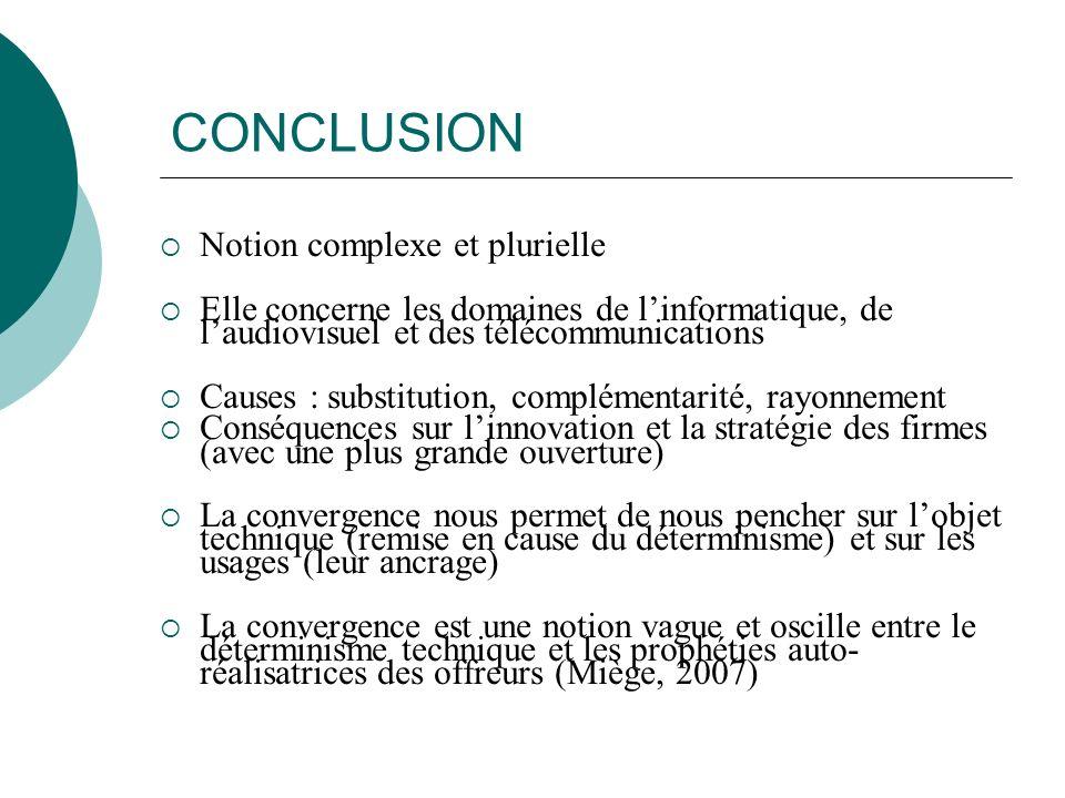 CONCLUSION Notion complexe et plurielle