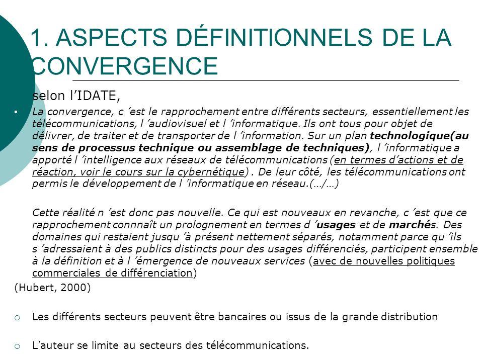 1. ASPECTS DÉFINITIONNELS DE LA CONVERGENCE