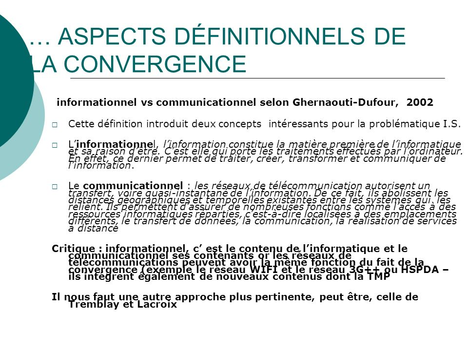 … ASPECTS DÉFINITIONNELS DE LA CONVERGENCE