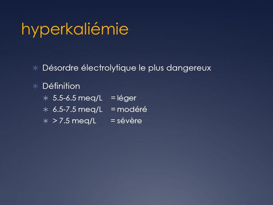 hyperkaliémie Désordre électrolytique le plus dangereux Définition