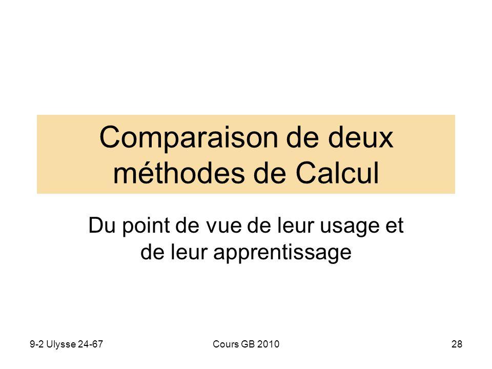 Comparaison de deux méthodes de Calcul