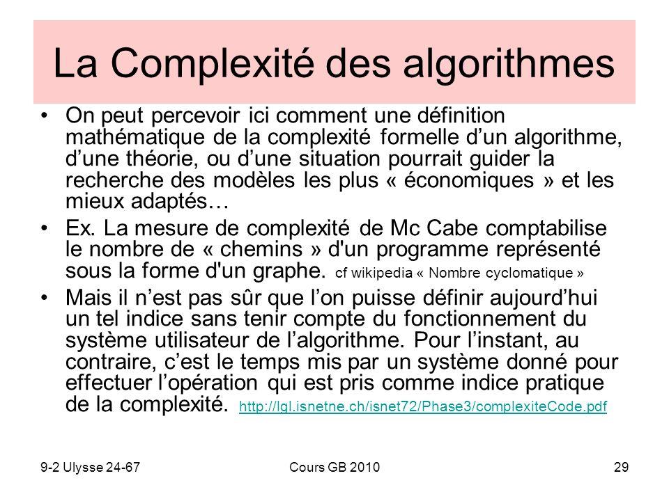 La Complexité des algorithmes