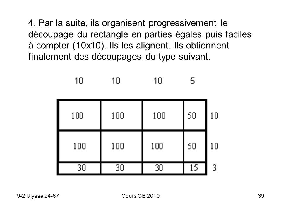 4. Par la suite, ils organisent progressivement le découpage du rectangle en parties égales puis faciles à compter (10x10). Ils les alignent. Ils obtiennent finalement des découpages du type suivant.