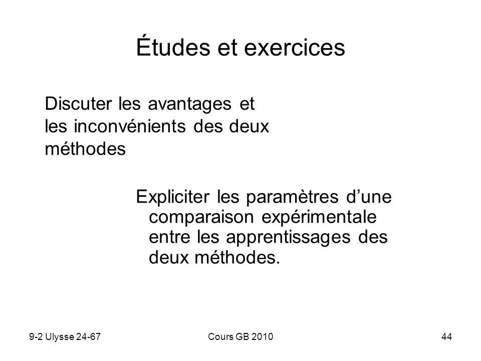 Études et exercices Discuter les avantages et les inconvénients des deux méthodes.