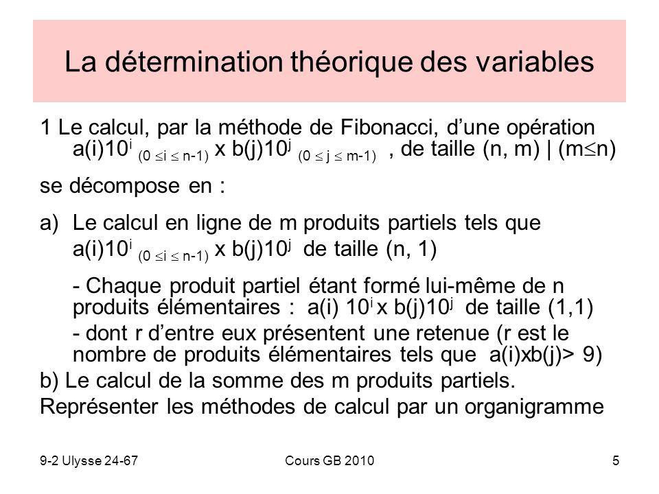 La détermination théorique des variables
