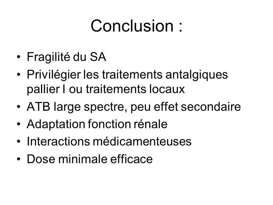 Conclusion : Fragilité du SA
