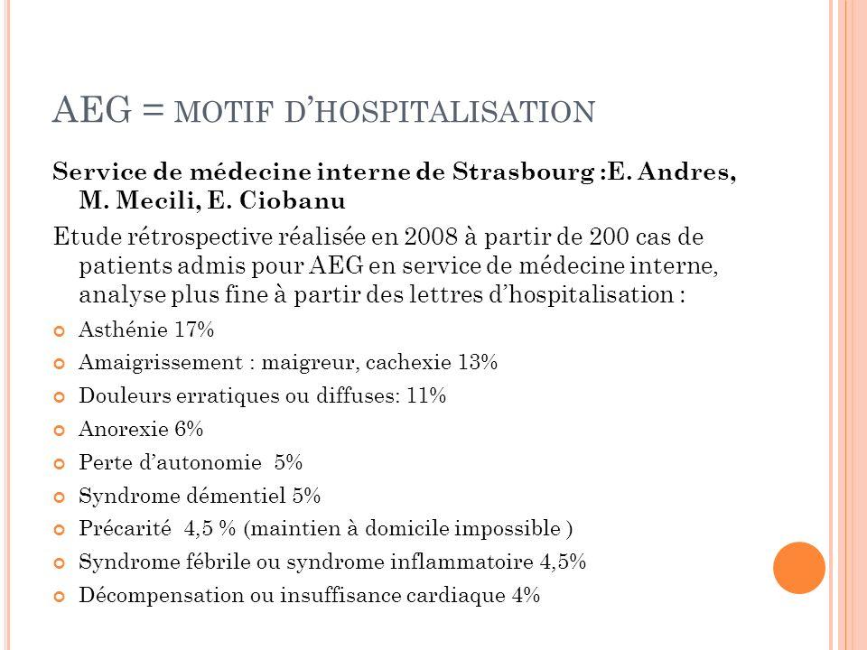 AEG = motif d'hospitalisation