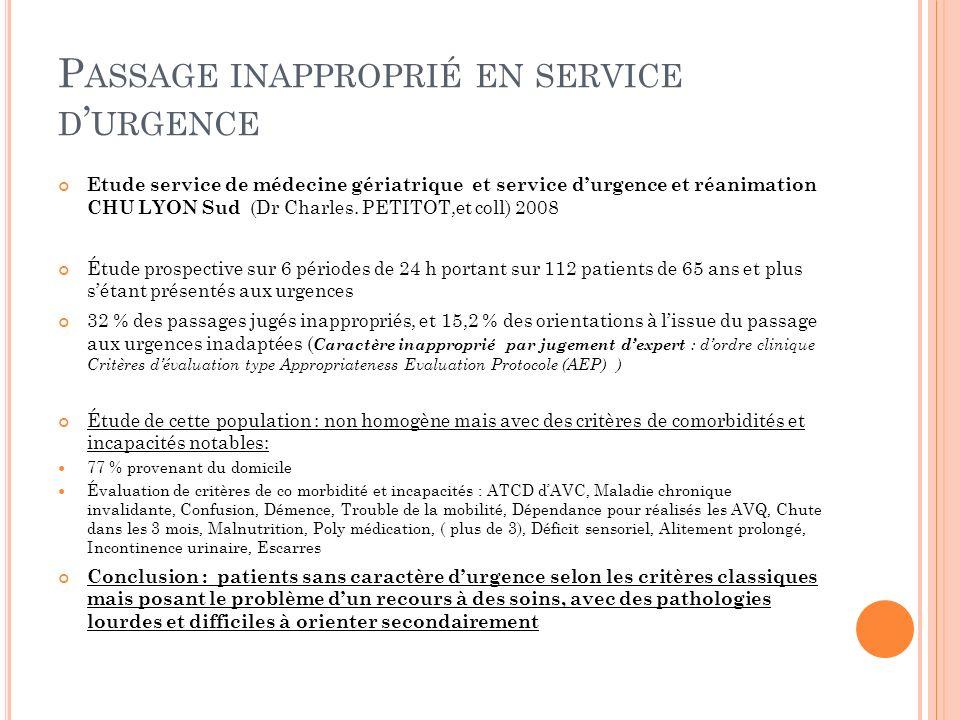 Passage inapproprié en service d'urgence