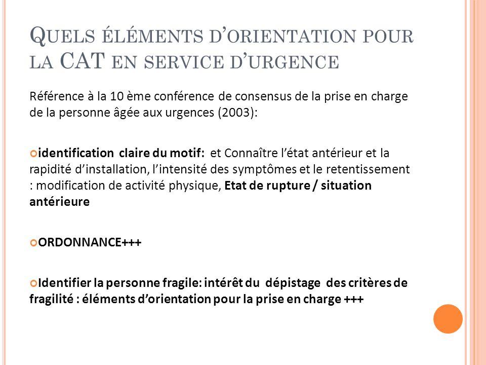 Quels éléments d'orientation pour la CAT en service d'urgence