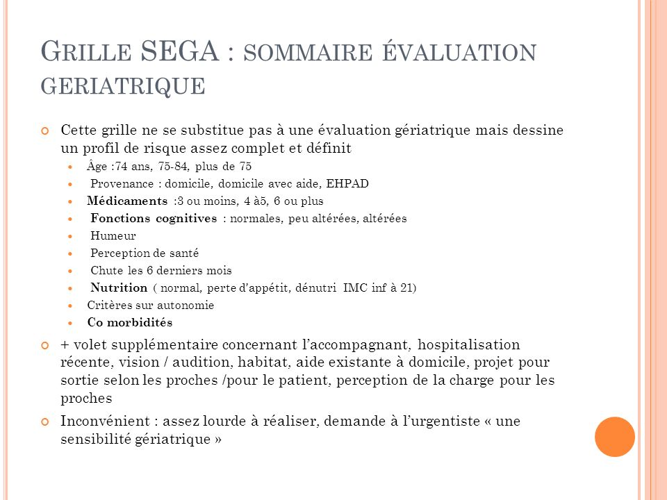 Grille SEGA : sommaire évaluation geriatrique