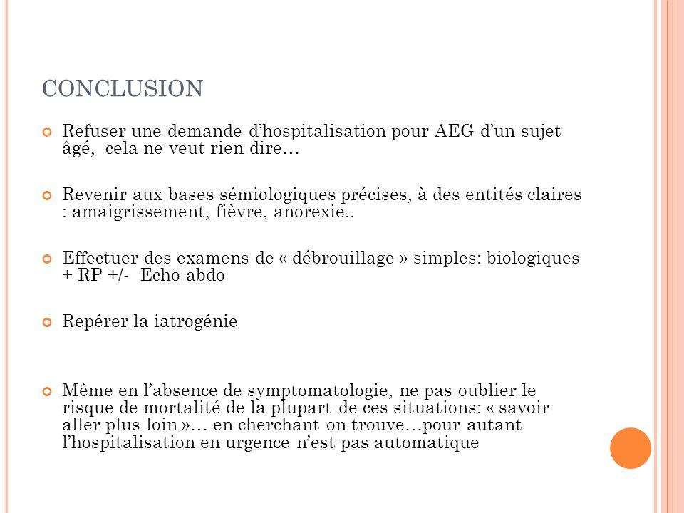 conclusion Refuser une demande d'hospitalisation pour AEG d'un sujet âgé, cela ne veut rien dire…
