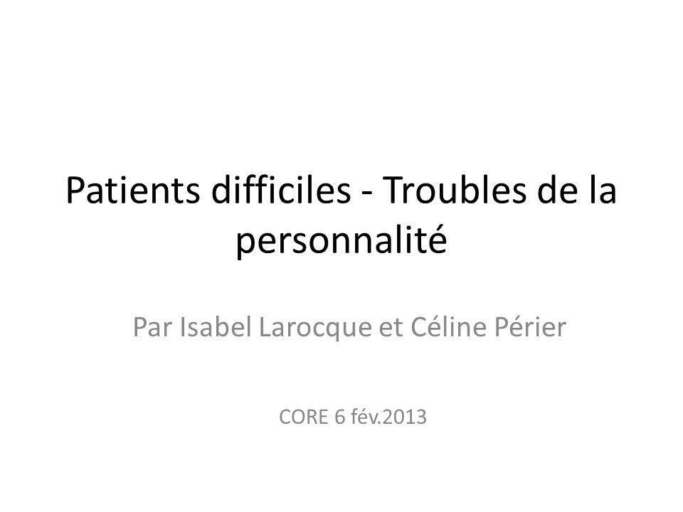 Patients difficiles - Troubles de la personnalité