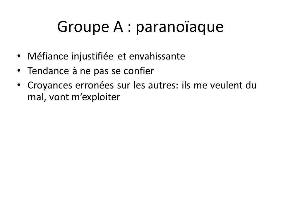 Groupe A : paranoïaque Méfiance injustifiée et envahissante