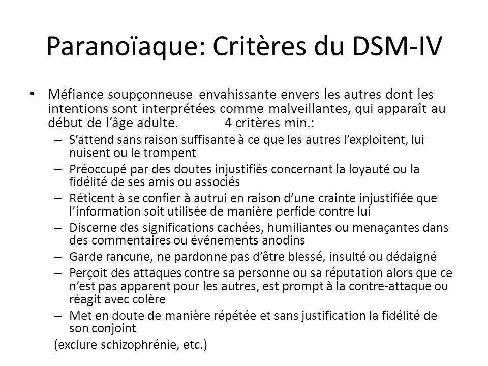 Paranoïaque: Critères du DSM-IV