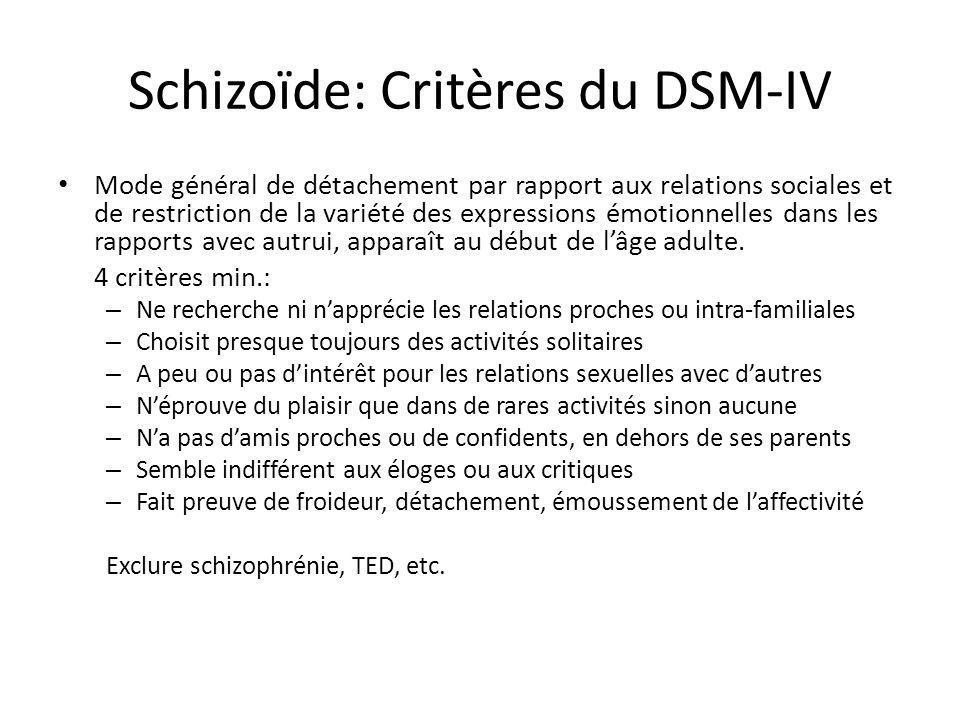 Schizoïde: Critères du DSM-IV