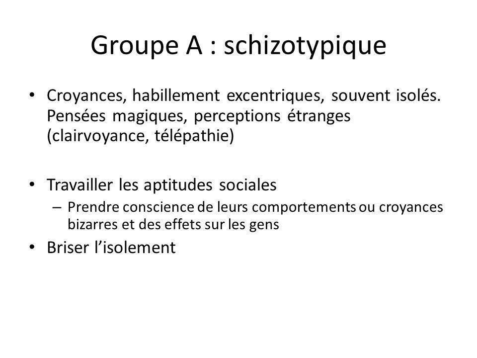 Groupe A : schizotypique
