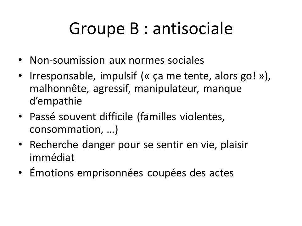 Groupe B : antisociale Non-soumission aux normes sociales