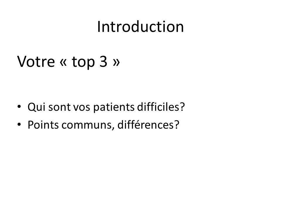 Introduction Votre « top 3 » Qui sont vos patients difficiles