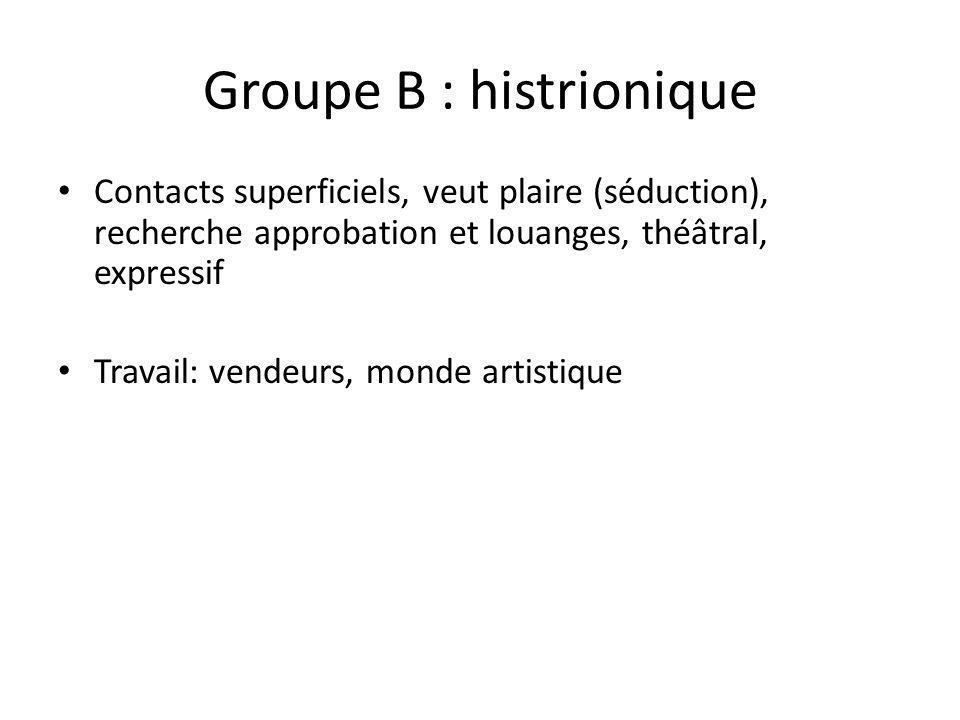 Groupe B : histrionique