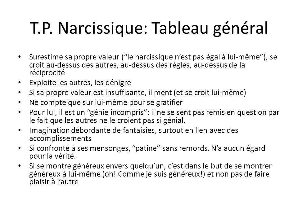 T.P. Narcissique: Tableau général