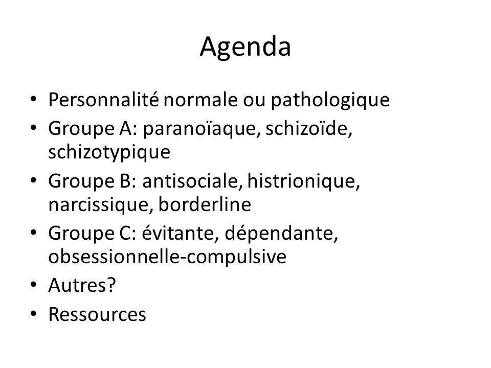 Agenda Personnalité normale ou pathologique