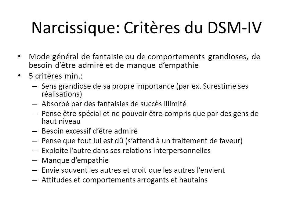 Narcissique: Critères du DSM-IV