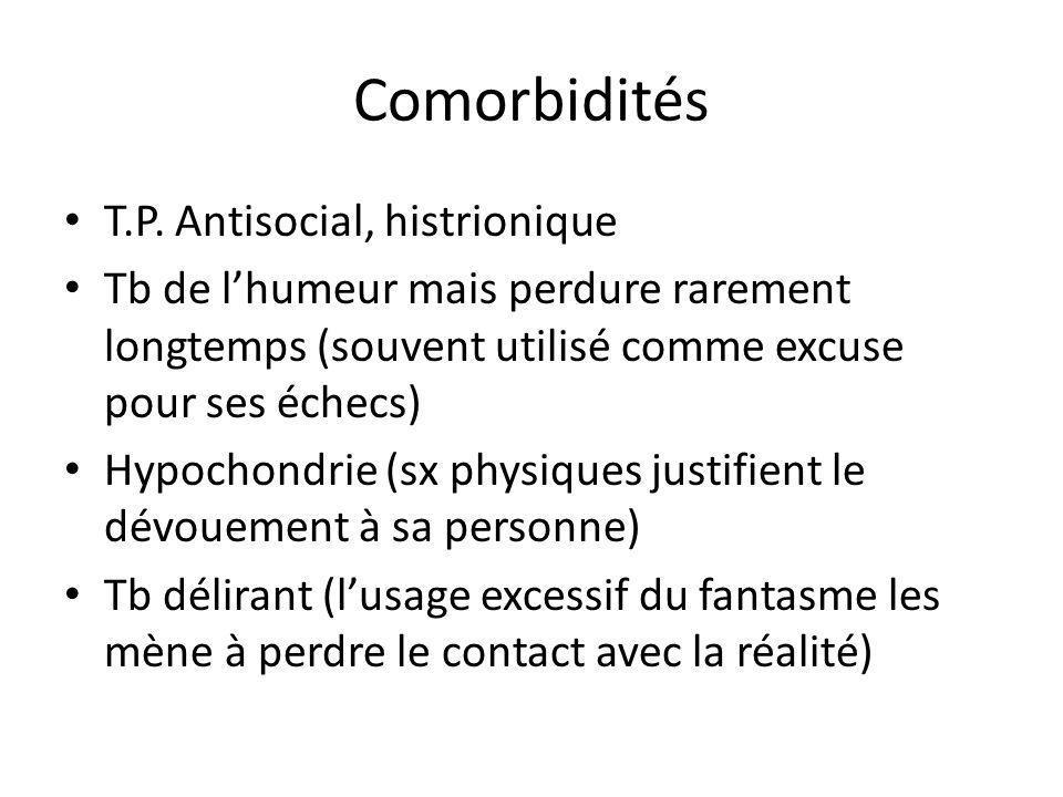 Comorbidités T.P. Antisocial, histrionique
