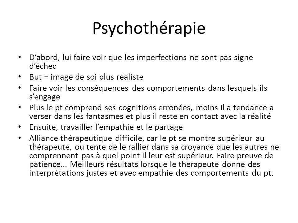 Psychothérapie D'abord, lui faire voir que les imperfections ne sont pas signe d'échec. But = image de soi plus réaliste.