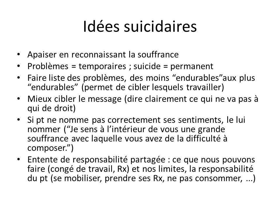 Idées suicidaires Apaiser en reconnaissant la souffrance