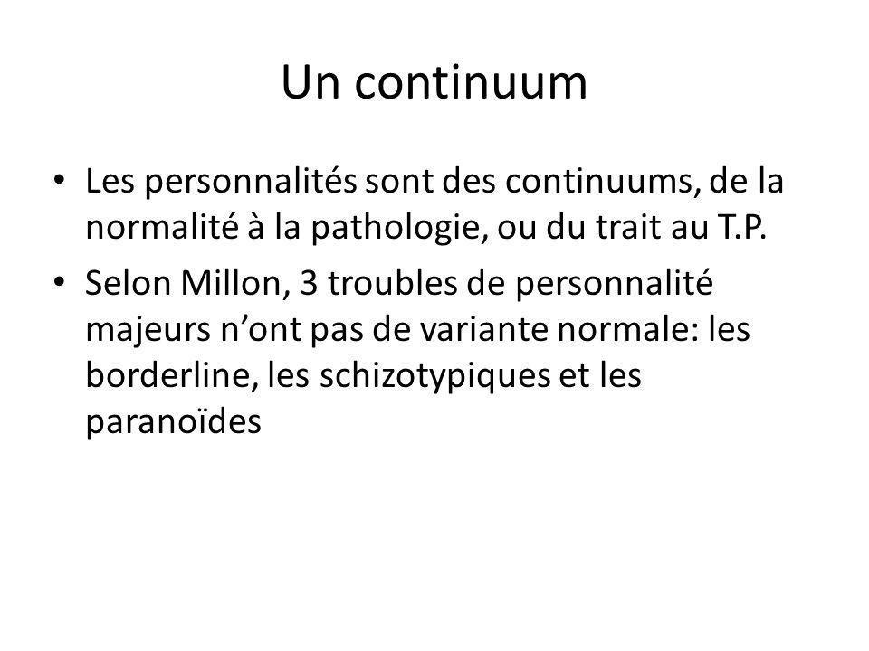 Un continuumLes personnalités sont des continuums, de la normalité à la pathologie, ou du trait au T.P.