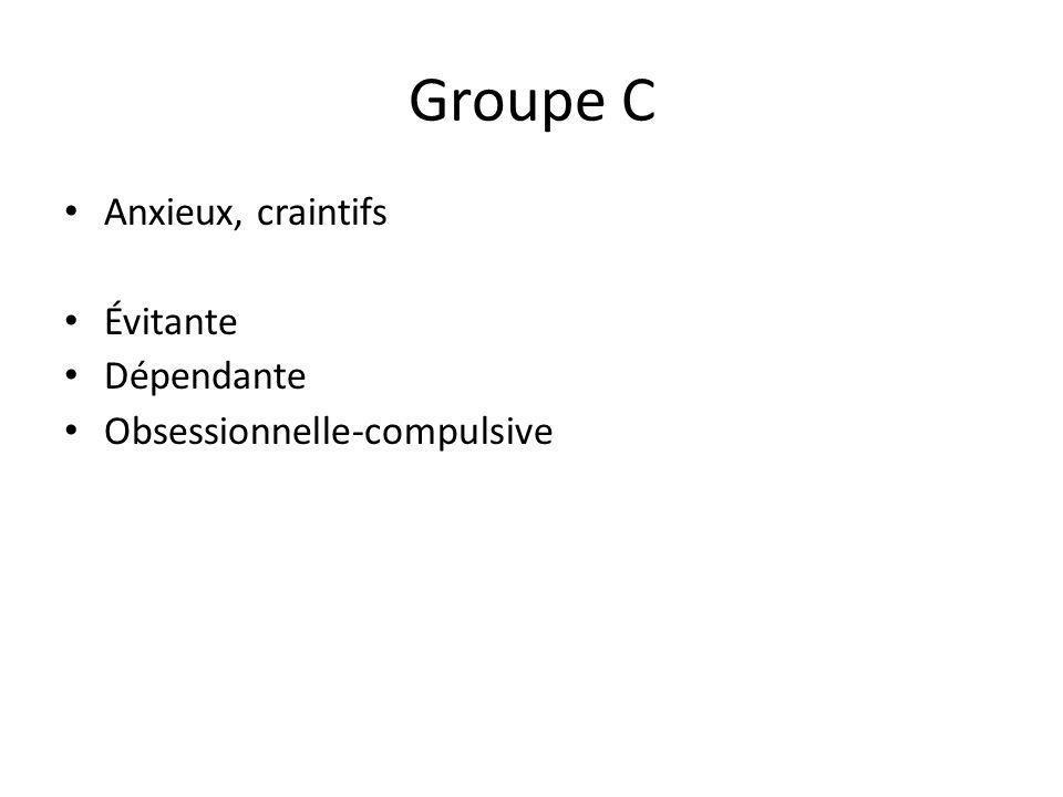 Groupe C Anxieux, craintifs Évitante Dépendante